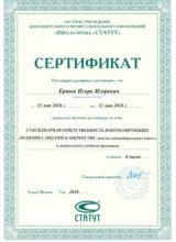 Сертификат Игоря Ершова
